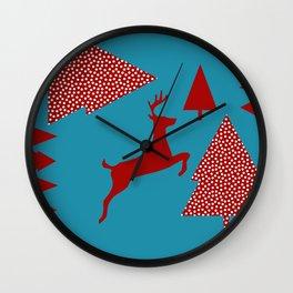 Reindeer blue Wall Clock