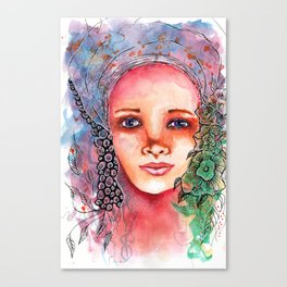 Flower Beauty   Whimsical face with flowers. Floral. Watercolor Canvas Print