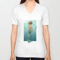 mermaid V-neck T-shirts featuring Mermaid by Calavera
