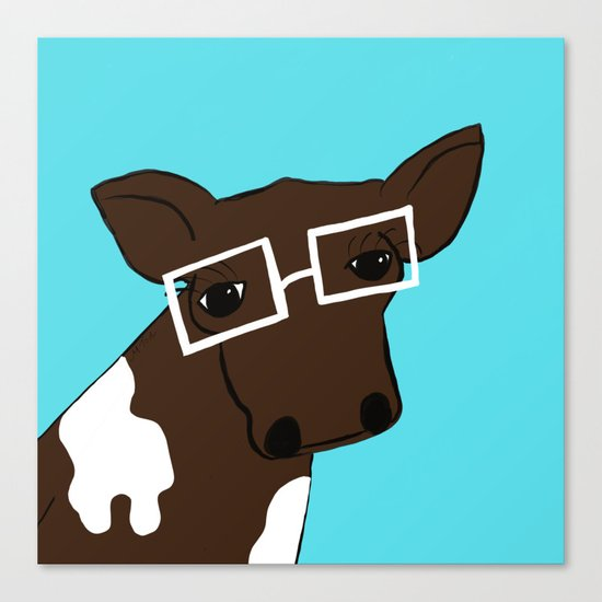 Hipster Cow Canvas Print