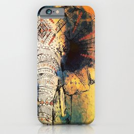 Watercolor elephant & mandala art iPhone Case