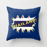thailand Throw Pillows featuring Thailand by mailboxdisco
