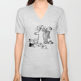 Calvin & Hobbes play snow man Unisex V-Neck