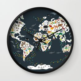 Cartoon animal world map for children, kids, Animals from all over the world, back to school, gray Wall Clock