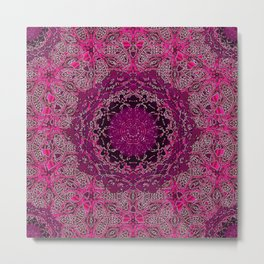 Raspberry Wisteria Mandala Metal Print