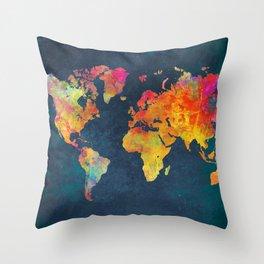World Map blue #world #map Throw Pillow