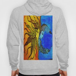 Abstract Sun and Moon together / Day and Night Hoody