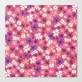 Retro Pink Flowers Canvas Print