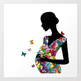 Stylized pregnant woman with colored butterflies pattern dress Art Print