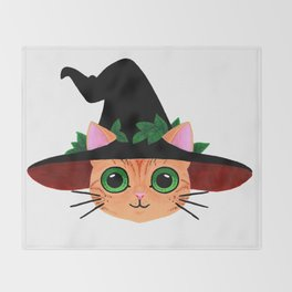 Witch hat cat Throw Blanket
