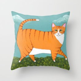 Chonky Ginger Cat in Clover Throw Pillow