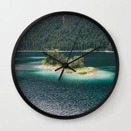 Eibsee Blue Mountain Lake Island Wall Clock