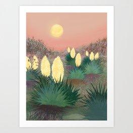 Succulents in twilight Art Print