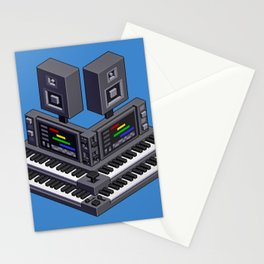 Electronic music altar — isometric pixel art Stationery Cards