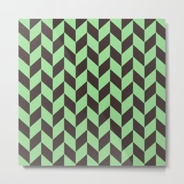 Charcoal And Green Chevron Pattern Metal Print