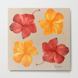 Hibiscus in Watercolor   Red, Ochre, and Yellow color Palette Metal Print