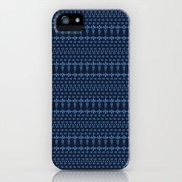 Indigo blue flower motif Japanese style. pattern. Hand drawn dyed floral damask textiles. Decorativ iPhone Case