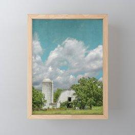 White Barn and Blue Sky Framed Mini Art Print