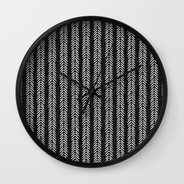 Mud cloth - Black and White Arrowheads Wall Clock