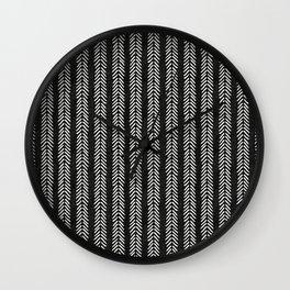Mud cloth - Black and White Arrowheads Wall Clock