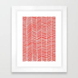 Coral Herringbone Framed Art Print