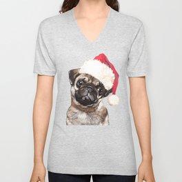 Christmas Pug Unisex V-Neck