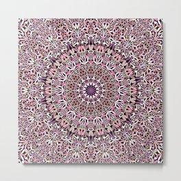 Pink Spiritual Garden Mandala Metal Print