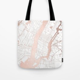 New York City White on Rosegold Street Map Tote Bag