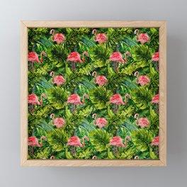 Aloha- Tropical Flamingo Bird and Palm Leaves Garden Framed Mini Art Print