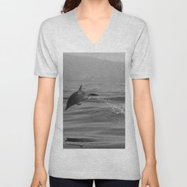 Black and white dolphin race in the ocean Unisex V-Neck