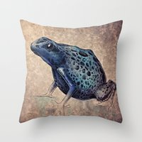 frog Throw Pillows featuring Frog by Werk of Art