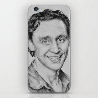 tom hiddleston iPhone & iPod Skins featuring Tom Hiddleston by hinterdemlicht