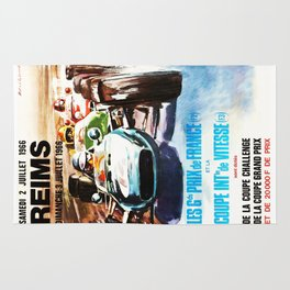 Gran Prix de Reims 1966, vintage poster, race poster, car poster Rug