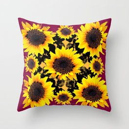 Black & Yellow Sunflowers Burgundy Purple Art Throw Pillow