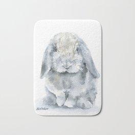 Mini Lop Gray Rabbit Watercolor Painting Bath Mat