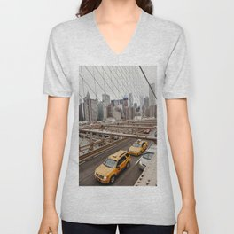 View on the city from the Brooklyn Bridge in New York City, USA | Photography print | New York City yellow caps | Tipical NY building architecture photo Art Print Unisex V-Neck