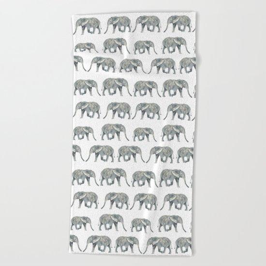 Elephant nature safari tropical painting watercolor nature pattern  Beach Towel