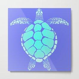 Ocean Blue Turtle Metal Print