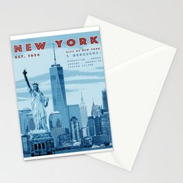 NYC Poster Print [Red, White & Blue] Stationery Cards