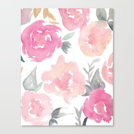 Muted Floral Watercolor Design  Canvas Print