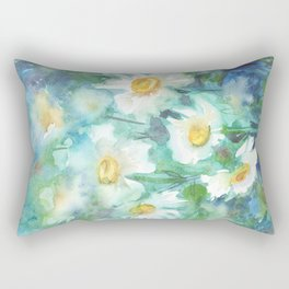 watercolor drawing - white daisies on a blue and green background, beautiful bouquet, painting Rectangular Pillow