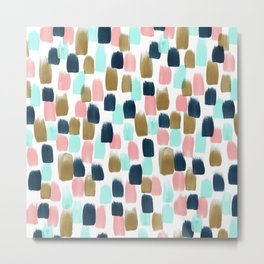 Pink, Mint, Navy & Gold Abstract Print, Nursery Art, Little Girls Room Metal Print