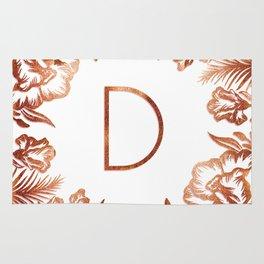 Letter D - Faux Rose Gold Glitter Flowers Rug