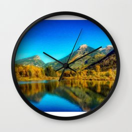 Sienna Lake | Fall colors at the mountain - Oil Canvas Painting  Wall Clock