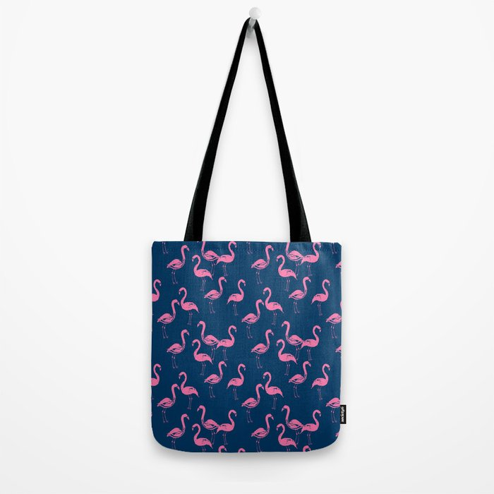 Flamingo modern watercolor girly cute navy blue pastel pink case tropical island summer animal  Tote Bag