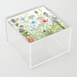 Floral Watercolor Botanical Cottage Garden Flowers Bees Nature Art Acrylic Box