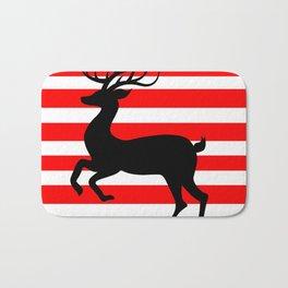 Reindeer On Candy Stripe Bath Mat