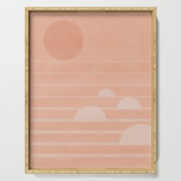 The sun on the waves - minimal landscape art Serving Tray