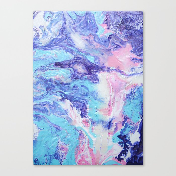 Unicorn Poop Purple Pink And Blue Pastel Fluid Acrylic Abstract Painting Canvas Print By Hollycromer