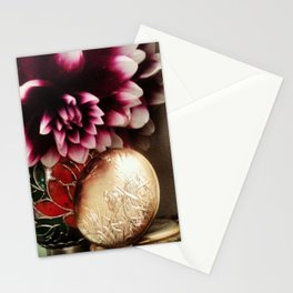 Time Less-Beautiful Purple Dahlia with a pocket watch! Stationery Cards